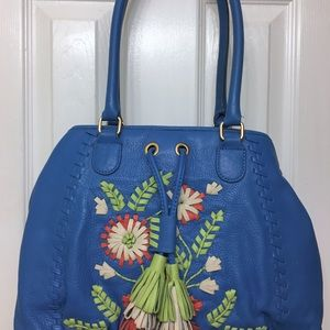Fiore by Isabella Fiore Blue Floral Handbag Purse